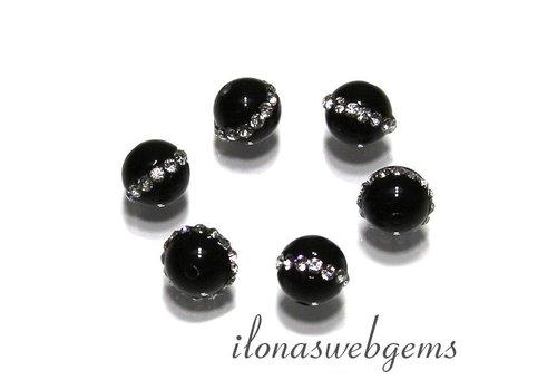 6 Stück Onyx Perle mit Kristall ca. 8mm