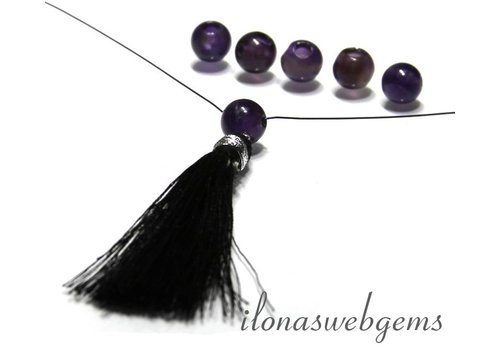 6 pieces Amethyst bead 3-hole app. 8mm
