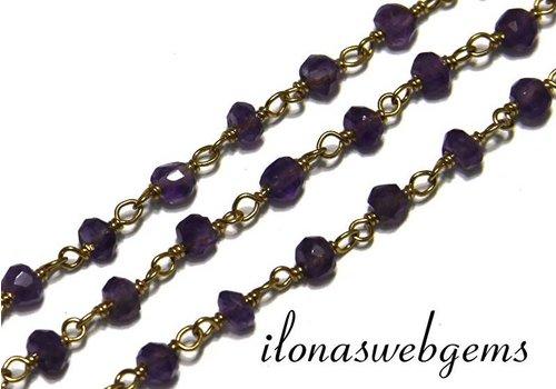 10cm Vermeil Halskette mit Perlen Amethyst