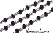 10cm Sterling Silber Halskette mit Amethyst Perlen