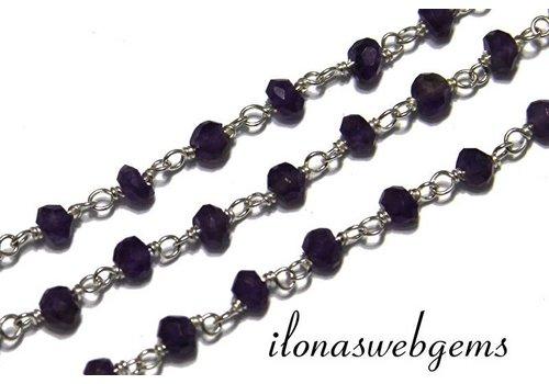 10 cm Sterling Silber Halskette mit Perlen Amethyst