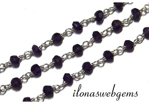 10cm sterling silver necklace with amethyst beads