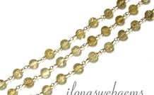 10cm Vermeil Halskette mit Citrin Perlen