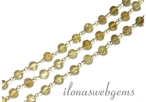 10 cm Vermeil Halskette mit Perlen Citrin