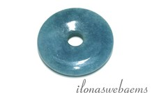 Blauer Schwamm-Quarz-Anhänger Donut ca. 40x7mm