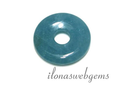 Blauer Schwamm-Quarz-Anhänger Donut ca. 30x6.5mm
