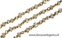 10cm Vermeil Halskette mit Perlen Regenbogen Mondstein