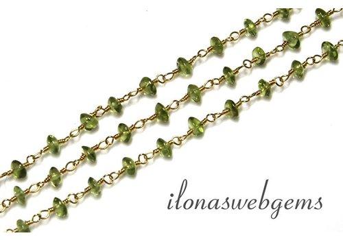 10 cm Vermeil Halskette mit Perlen Peridot