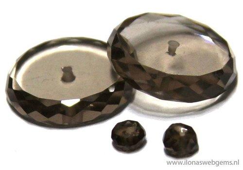 1 paar Rookkwarts facet discs ca. 10x3mm
