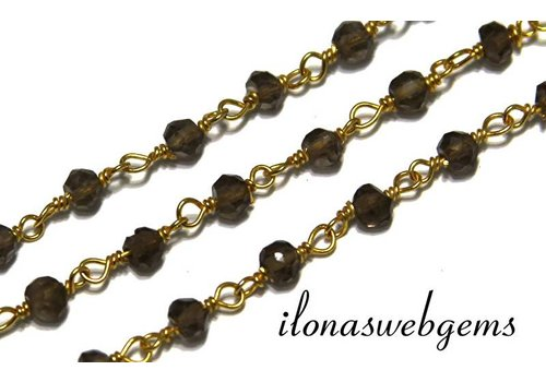 10 cm vermeil necklace with beads Smoky quartz