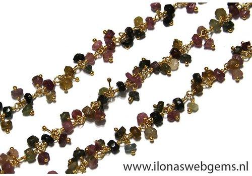 10cm Vermeil Halskette mit Perlen Turmalin