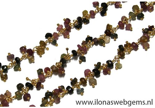 10cm Vermeil necklace with beads Tourmaline