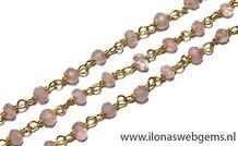 10cm Vermeil Halskette mit Perlen Rose Quartz
