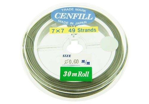 Cenfill RVS gecoat rijgdraad 0.6mm ( 49 draads)