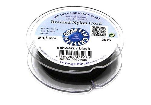 Griffin nylon koord zwart 1.5mm 20m