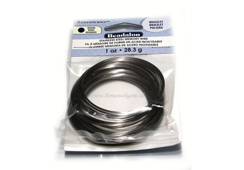 Perlealon RVS memory wire Armband (La10)