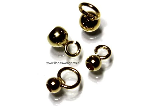 10 pieces sterling Vermeil inlakbal 4mm open eye