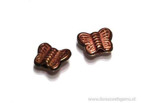 10 stuks `Rosé gold` Hill tribe kraal vlindertje