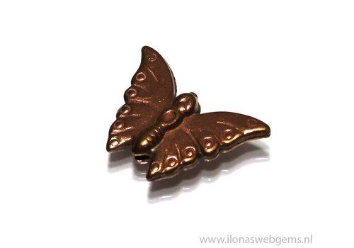 6 stücke `Rose gold` Hill tribe vlinder ca. 16x23mm