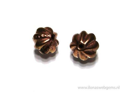 6 stücke `Rose gold` Hill tribe  Perle ca. 12mm