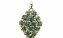 Sterling zilveren Tibetaanse hanger met Turkoois / Let op! Mist een steen