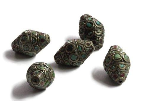 Tibetan bead with Turqoise and Coral