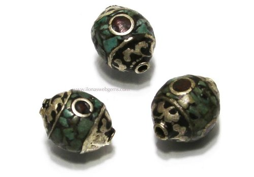 Tibetan bead with Coral and Turqoise