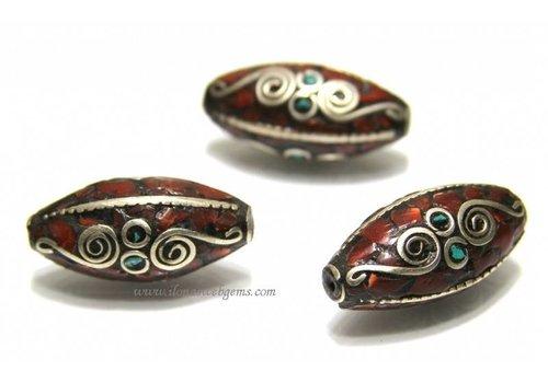 Tibetanische Perle mit Koralle und Türkis