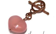 Chalcedon Herz mit Kupfer Kapittel Verschluss