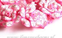 6 stücke Fimo blume ( Perle) weiss-Roza