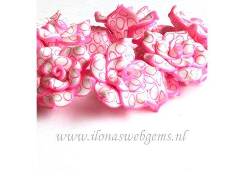 6 stuks Fimo klei bloem (kraal) wit-roze