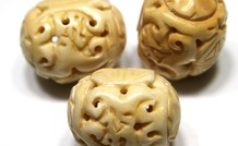 Bewerkte Knochen Perle ca. 34x27mm