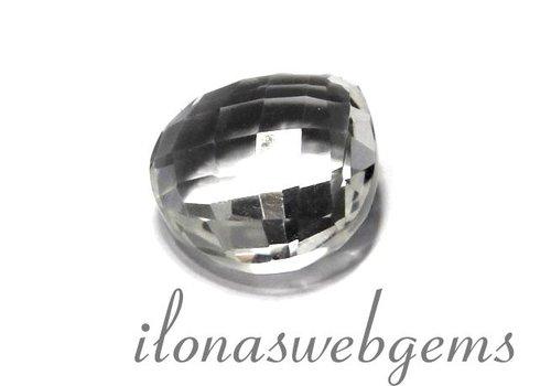 1 bergkristal druppel facet ca. 16x8mm