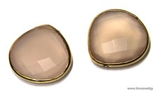 Pink Chalcedon Facetten Perle mit vermeil