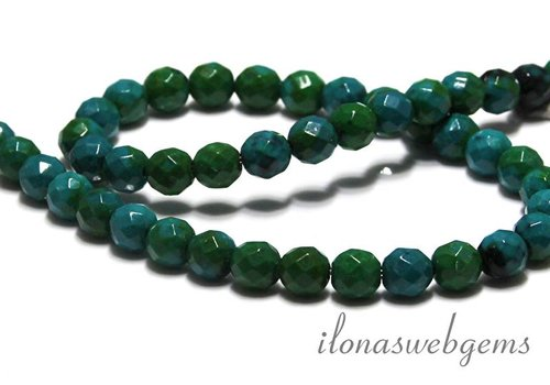 Chinese Chrysocolla beads facet round app. 8mm