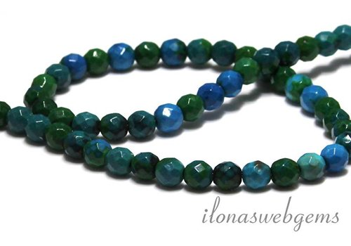 Chinese Chrysocolla beads facet round app. 6mm