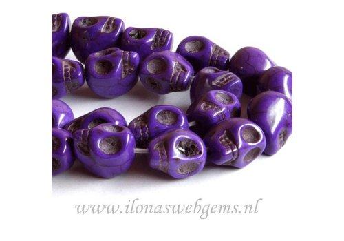 Howlite beads skulls purple app. 13mm