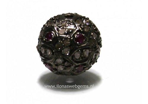 Sterling zilveren kraal met Diamant en Robijn