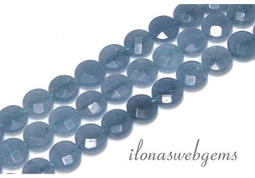 Blauer Schwamm Quarz facettiert Perlen um 10x4mm