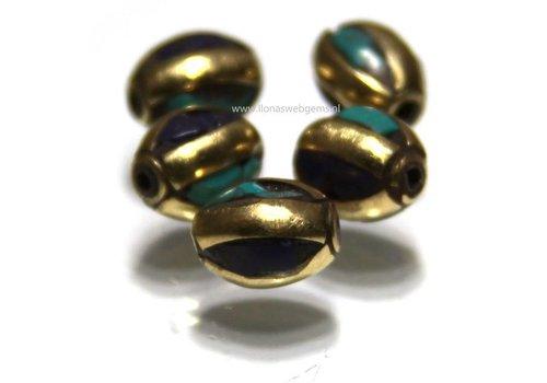 5 pieces Tibetan Brass bead with Lapis lazuli and Turqoise
