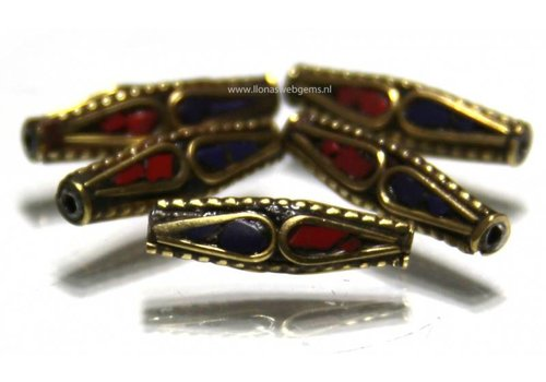 5 pieces Tibetan Brass bead with Coral and Lapis lazuli