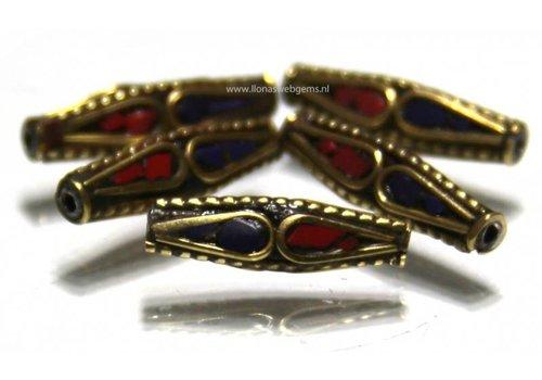 5 stuks Tibetaanse messing kraal met Bloedkoraal en Lapis lazuli