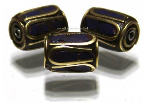 3 pieces Tibetan Brass bead with Lapis lazuli app.12x9mm