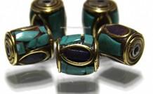 5 stücke Tibetanische messing Perle mit Lapis Lazuli en Türkis ca.11x9mm