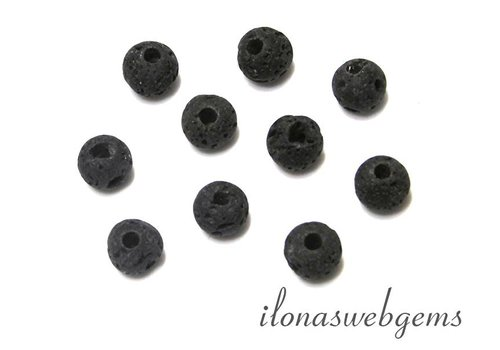10 pieces lavastone beads round app. 9mm with great Inside hole