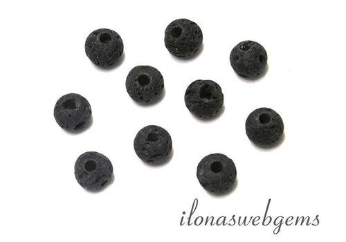 10 stuks lavasteen kralen rond met groot rijggat ca. 9mm