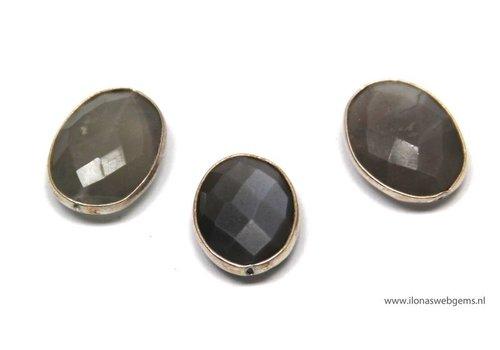 3 stücke 925/000 Silber  PerlemitMondstein ca. 13x6mm (G8a)