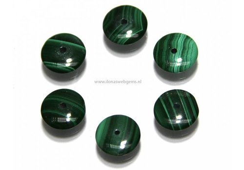 1 Malachiet bead disc app. 10x3mm AA quality