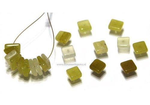 20 stuks gele Opaal kraal vierkant