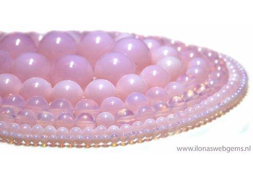 Roze Opaliet kralen rond ca. 20mm